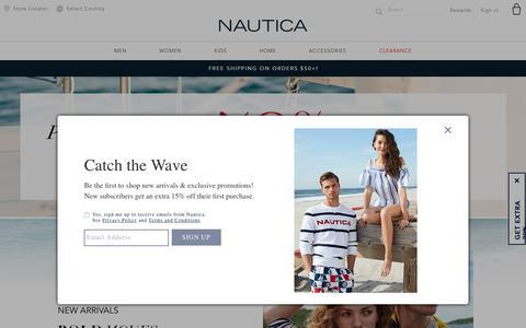 Screenshot of Home Page nautica.com - Nautica - The Official Site For Apparel, Accessories, Home & More. - captured Feb. 15, 2019