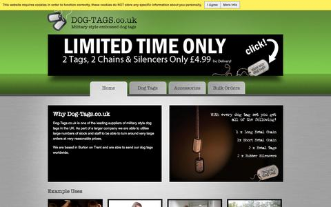 Screenshot of Home Page dog-tags.co.uk - Dog Tags UK- Army Tags - Military Tags - Embossed Dog Tags - captured Jan. 27, 2015
