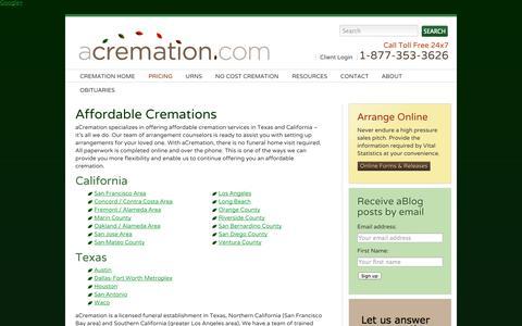 Screenshot of Pricing Page acremation.com - Affordable Cremations   aCremation - captured Sept. 30, 2014