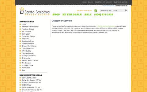 Screenshot of Support Page sb-designstudio.com - Customer Service   Wholesale - captured Oct. 4, 2014