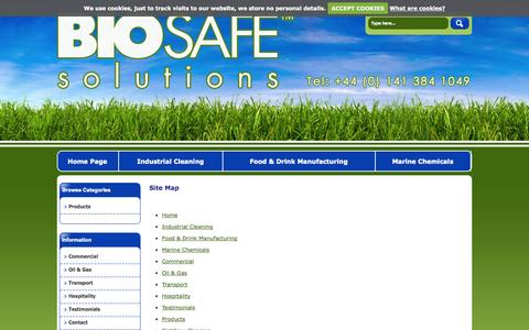 Screenshot of Site Map Page biosafesolutions.co.uk - Sitemap   green chemicals, industrial chemicals, eco friendly chemicals, safe cleaning products, cleaning chemical supplies, biodegradable products   Biosafe Solutions Ltd - captured Oct. 5, 2014