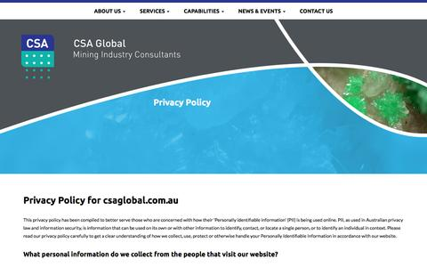 Screenshot of Privacy Page csaglobal.com - Privacy Policy - CSA Global - captured Dec. 6, 2015