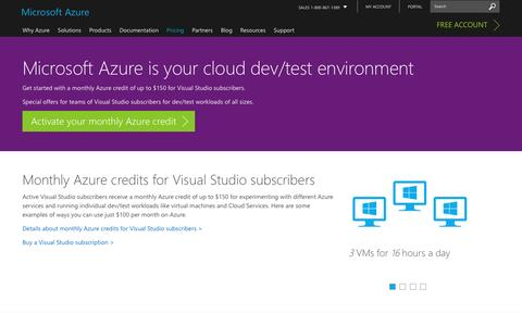 Screenshot of Pricing Page microsoft.com - FREE Benefits for Visual Studio Subscribers | Microsoft Azure - captured Jan. 5, 2017
