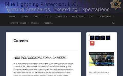 Screenshot of Jobs Page bluelightningprotection.com - Careers   - captured Dec. 28, 2015