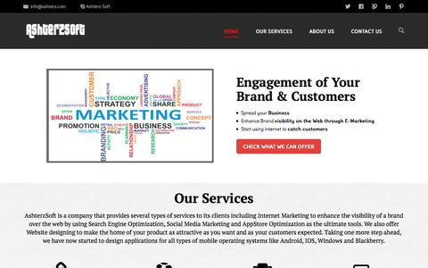 Screenshot of Home Page ashterz.com - Internet Marketing Company | Website & Apps Designing Agency | AshterSoft - captured Sept. 23, 2014