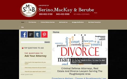 Screenshot of Home Page smandb.com - Poughkeepsie Divorce Lawyers - captured Oct. 6, 2014