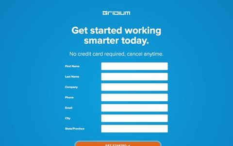 Screenshot of Signup Page gridium.com - Start Gridium Free Trial - captured July 3, 2016
