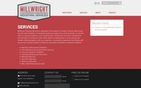 Screenshot of Services Page millwrightindustrial.com - Services | Millwright Industrial Services - captured Oct. 27, 2014