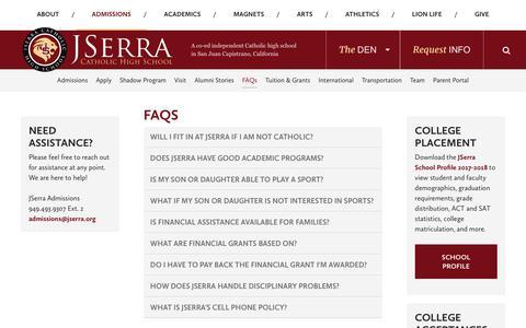 Screenshot of FAQ Page jserra.org - FAQs - JSerra Catholic High School - captured Oct. 13, 2018