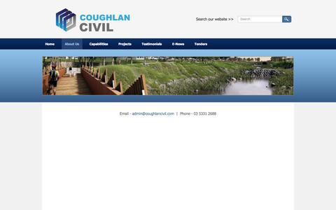 Screenshot of About Page coughlancivil.com - About Us - Coughlan Civil - Civil Engineers and Town Planners | Victoria | Queensland | Australia - captured Sept. 30, 2014