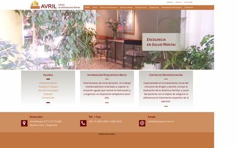 Screenshot of Home Page clinicaavril.com.ar - Bienvenidos a la Clinica Avril - Internaciones Breves - captured June 4, 2016