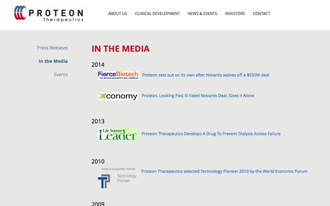Screenshot of Press Page proteontherapeutics.com - In the Media | News & Events | Proteon Therapeutics - captured Sept. 17, 2014