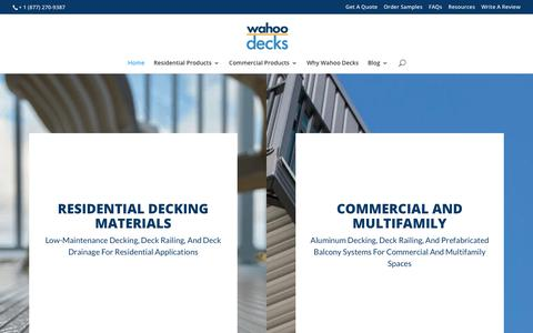 Screenshot of Home Page wahoodecks.com - Aluminum Decks | Deck Railing System | Wahoo Decks - captured Feb. 12, 2020