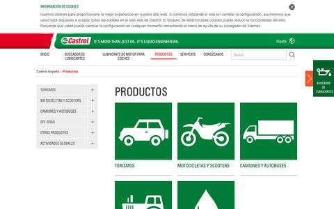 Screenshot of Products Page castrol.com - Productos | Castrol - Aceite de motor, aceites de motor, aceite sintéticos, lubricantes y líquidos de transmisión - captured Dec. 4, 2016