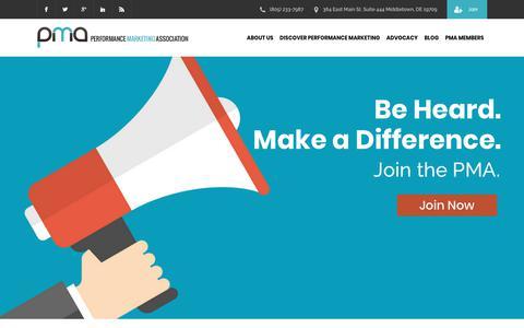 Screenshot of Home Page thepma.org - Performance Marketing Association | The PMA - captured June 18, 2018