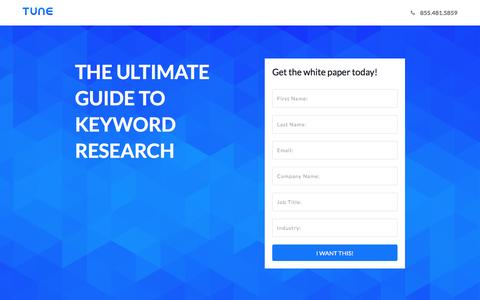 Screenshot of Landing Page tune.com - The Ultimate Guide to Keyword Research - captured Jan. 3, 2017