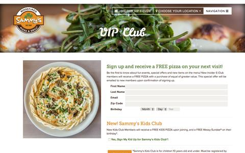 Screenshot of Signup Page sammyspizza.com - VIP Club | Sammy's Woodfired Pizza - captured Feb. 4, 2016