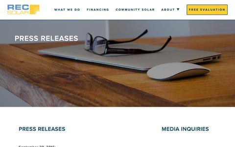 Screenshot of Press Page recsolar.com - Press Releases | REC Solar - captured Oct. 21, 2016