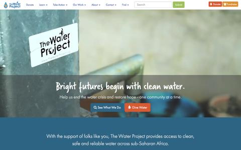 Screenshot of Home Page thewaterproject.org - The Water Project - Safe and Reliable Water Matters - captured Sept. 8, 2016