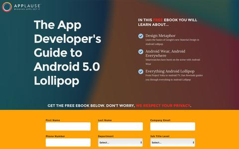 Screenshot of Landing Page applause.com - The App Developer's Guide to Android L - Applause: 360° App Quality - captured March 15, 2016