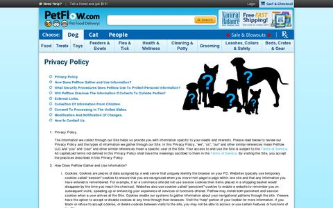 Screenshot of Privacy Page petflow.com - PetFlow | Privacy Policy - captured July 18, 2014