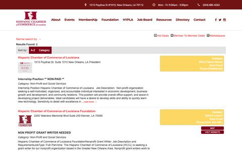 Screenshot of Jobs Page hccl.biz - Job Search - HCCL Events – Hispanic Chamber of Commerce of Louisiana - captured Oct. 25, 2018