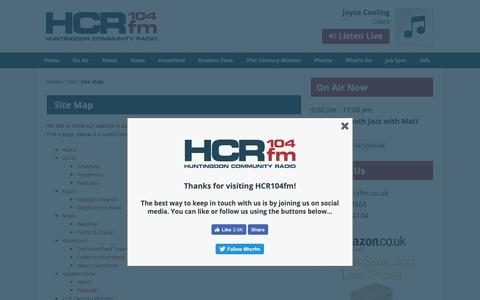 Screenshot of Site Map Page hcrfm.co.uk - Site Map – HCR104fm - captured Sept. 30, 2018