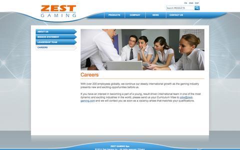 Screenshot of Jobs Page zest-gaming.com captured Oct. 7, 2014