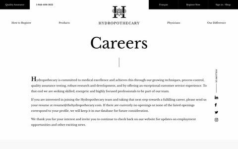 Screenshot of Jobs Page thehydropothecary.com - Careers - captured Nov. 9, 2017