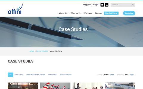 Screenshot of Case Studies Page affini.co.uk - Case Studies - affini - captured Aug. 28, 2019