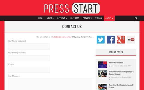 Screenshot of Contact Page press-start.com.au - Contact Us | Press Start Australia - captured Oct. 3, 2014