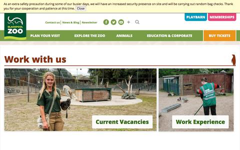 Screenshot of Jobs Page blackpoolzoo.org.uk - Work with us | Blackpool Zoo - captured Jan. 4, 2018