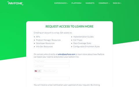 Screenshot of Signup Page payfone.com - Request Access | Payfone - captured June 9, 2017