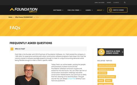 Screenshot of FAQ Page foundationsoft.com - Foundation Software  FAQs About Our Construction Software - captured April 29, 2017