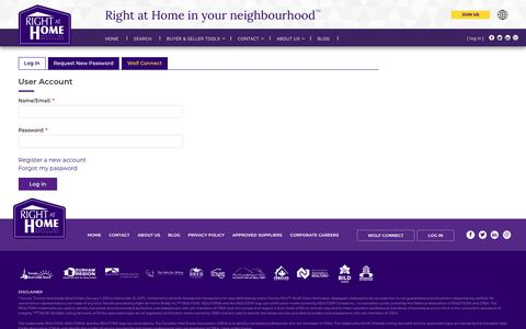 Screenshot of Login Page rightathomerealty.com - user account | RIGHT AT HOME REALTY INC. - captured June 21, 2019