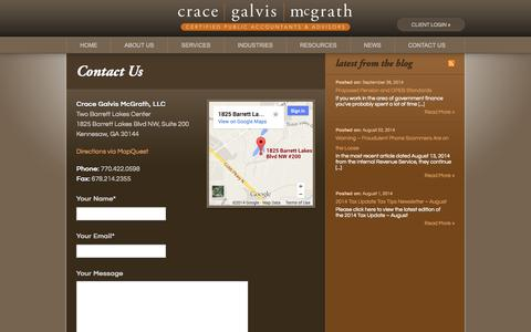 Screenshot of Contact Page cgmcpa.com - Contact Us | Crace Galvis McGrath - captured Oct. 3, 2014