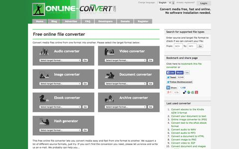 Screenshot of Home Page online-convert.com - Online converter - convert video, images, audio and documents for free - captured Sept. 19, 2014