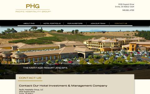 Screenshot of Contact Page pacifichospitality.com - Hotel Investment & Management Company | Contact Pacific Hospitality Group - captured Oct. 1, 2014
