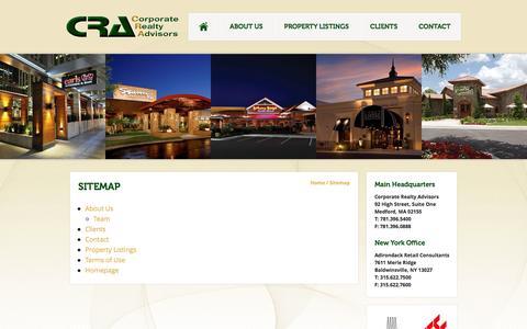 Screenshot of Site Map Page cra-boston.com - Sitemap | CRA - captured Oct. 1, 2014
