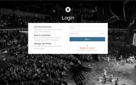 Screenshot of Login Page crossroads.net - Sign In | Crossroads - captured April 27, 2017