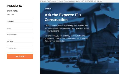 Screenshot of Landing Page procore.com - Ask the Experts: IT + Construction - captured March 2, 2018