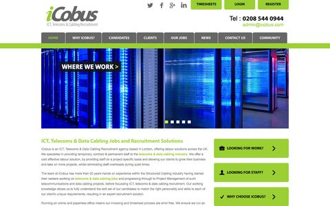 Screenshot of Home Page icobus.com - iCobus: Telecommunications & Data Cabling Recruitment Agency - captured Oct. 6, 2014