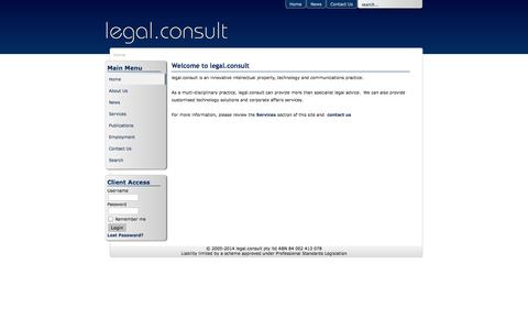 Screenshot of Menu Page legalconsult.com.au - legal.consult - legal, technology & communications specialists - Home - captured Oct. 3, 2014