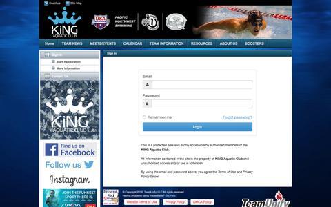 Screenshot of Login Page teamunify.com - KING Aquatic Club : Sign In - captured Nov. 27, 2016