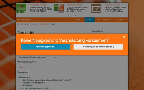 Screenshot of Login Page die-netzmacher.de - Login: Responsive TYPO3-Agentur, Passau, Bayern - captured July 12, 2018