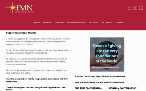Screenshot of Support Page imnedu.org - Support Transitional Ministry | IMN - captured Sept. 30, 2017