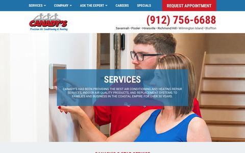 Screenshot of Services Page canadys.com - Savannah Heating & Cooling Repair Pooler, Hinesville | Canady's - captured Sept. 26, 2018