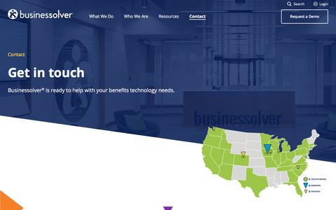 Screenshot of Contact Page businessolver.com - Benefits Administration Software Contact | Businessolver - captured May 23, 2018
