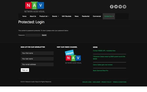 Screenshot of Login Page networkav.com.au - Login - Network Audio VisualNetwork Audio Visual - captured Oct. 26, 2014