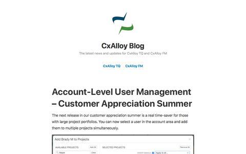 Screenshot of Blog cxalloy.com - CxAlloy Blog – The latest news and updates for CxAlloy TQ and CxAlloy FM - captured Nov. 9, 2019